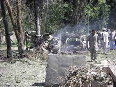 Aftermath of a suicide bombing, Khowst Province, Afghanistan, 12 May 2009.