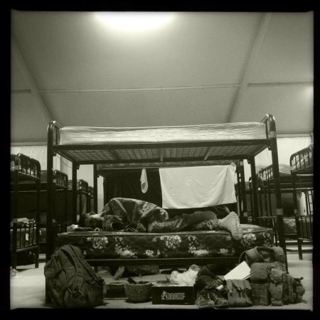 Anyone who has deployed will recognize this scene:  sleeping in transient barracks enroute to or from Iraq or Afghanistan.