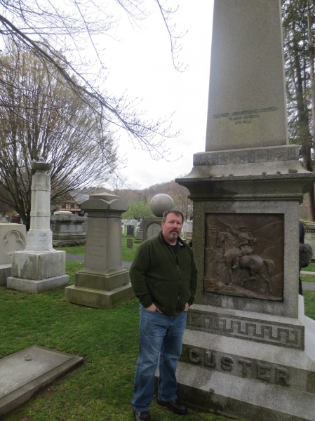 Brian Turner at Custer's grave, West Point Cemetery, New York.