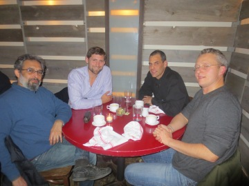 Joydeep Roy Bhattacharya, Phil Klay, me, and Roy Scranton