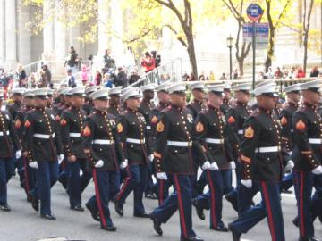 Marines on parade, Veterans Day, 2011, NYC.