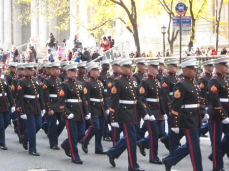 Marines on parade, Veterans Day, 2011, NYC.