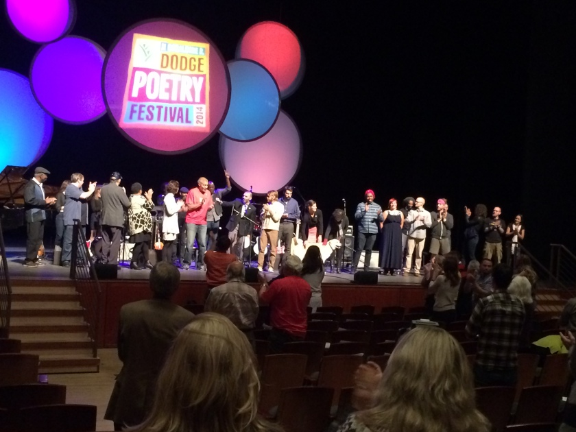 Another Kind of Courage poets and musicians take their bows, Dodge Poetry Festival 2014.