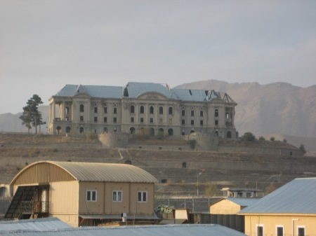 Darul Aman Palace, Kabul, Afghanistan, as seen from a US Army compound.