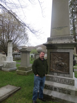 Brian Turner at Custer's grave, West Point, New York.