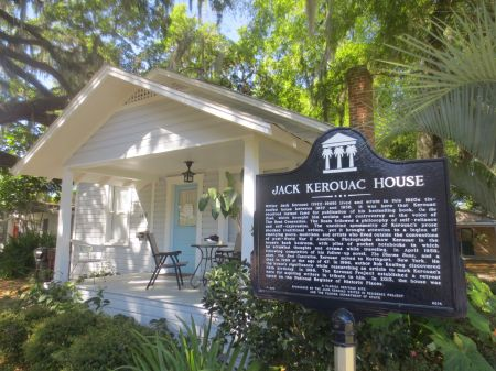 On the way to Tampa, I stopped at the house in Orlando, where Jack Kerouac wrote The Dharma Bums in 1957.  Brian Turner lived here, too, for a while, and now lives around the corner.