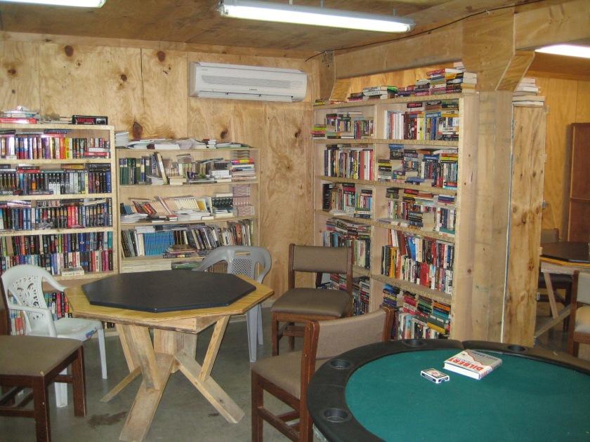 The Morale, Welfare, and Recreation bookshelf, Camp Clark, Afghanistan