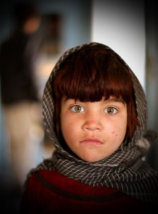 A girl at the Camp Clark clinic, 2009.  Picture by an International Security Force and Assistance Force photographer.