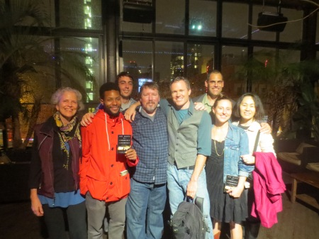Matt Gallagher, Brian Turner, the performance poet Rives, and a few happy fans