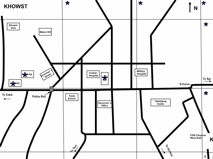 Map of downtown Khost that I made in 2009