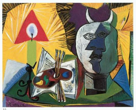 "Pablo Picasso, ""Palette, Candlestick, and Head of Minotaur"""